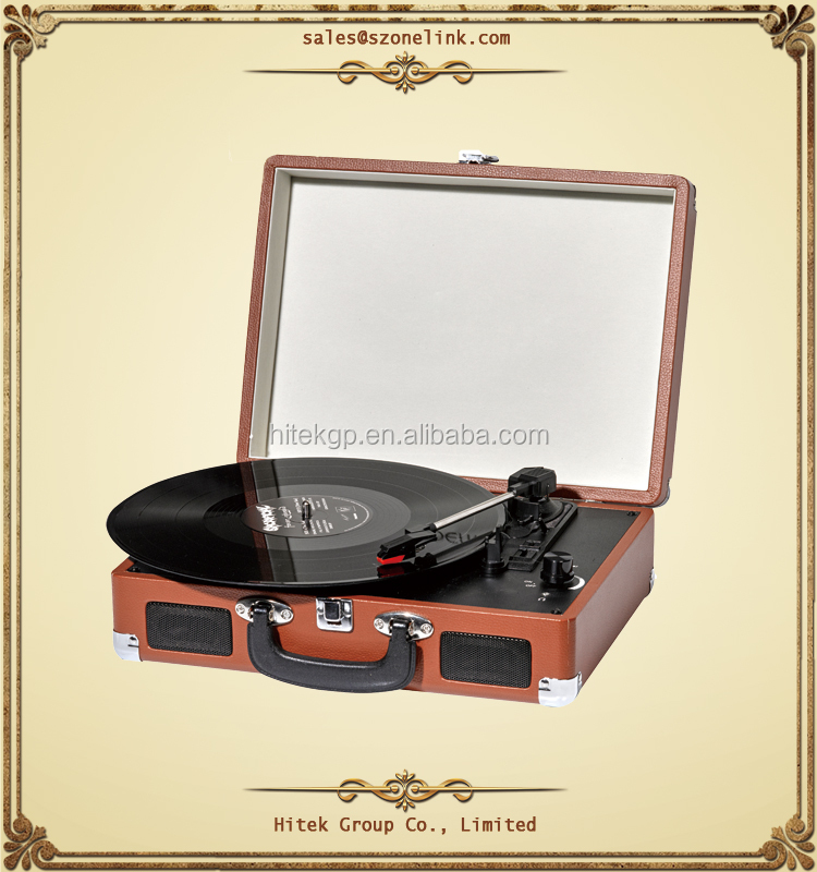 Best price briefcase design portable suitcase turntable record player with USB power adaptor