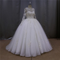 High quality full length tiered turquoise wedding dress
