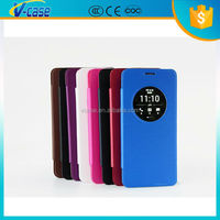 New Style ultra slim smart leather case with open window for asus zenfone 5