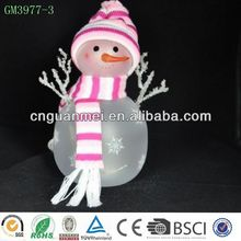 wholesale 2018 newest products accept personal tailor hand-craft return gifts for kids glass pink led snowman ornament