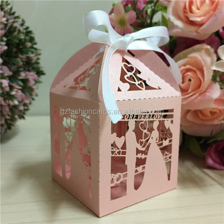 2016 Pink Theme Bride and Groom Laser Cut Gift Boxes for Wedding Decoration