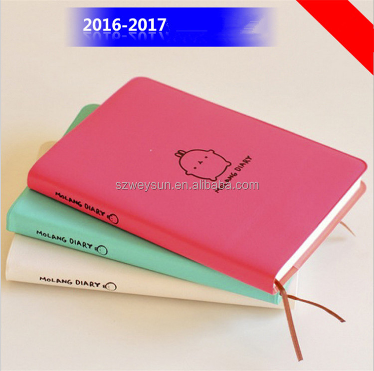 """Molang Rabbit"" Cute Diary Any Year Planner Pocket Journal Kawaii Notebook Agenda Scheduler Memo Korean Study Gift"