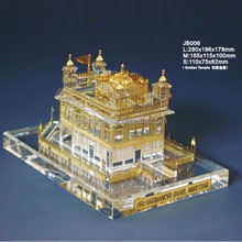 India crystal glass buidling golden temple model temple for sale