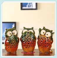 ceramic funny owl candle holder with owl design candle lantern