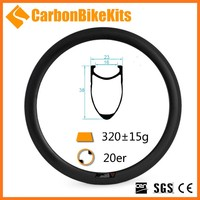 CarbonBikeKits 20er Carbon clincher Rim 38mm for BMX Wheel BMX451-38 -M