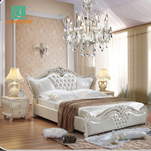 Luxury bedroom furniture carved solid wooden leather baroque royal luxury queen bed