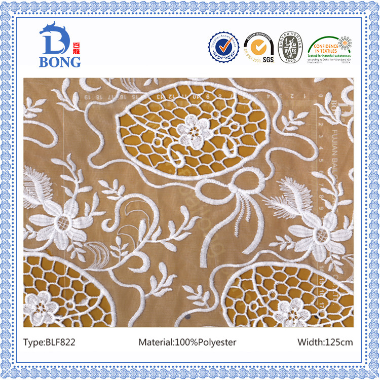 fashionable wholesale embroidery lace fabric
