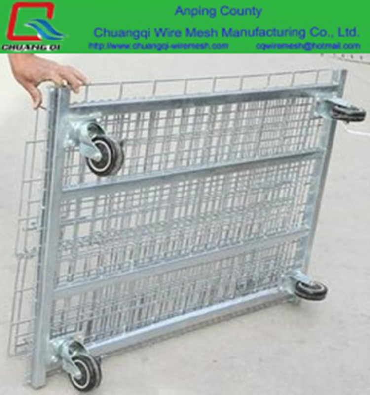 High Quality Stackable Wire Mesh Pallet Storage Steel Metal Cage With Wheels