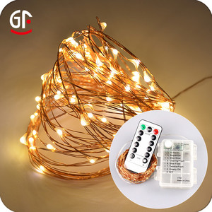 Waterproof 10M 33FT 100 Pcs Warm White LEDs Copper Wire 3AA Battery Operated Remote Control LED String Lights With Timer