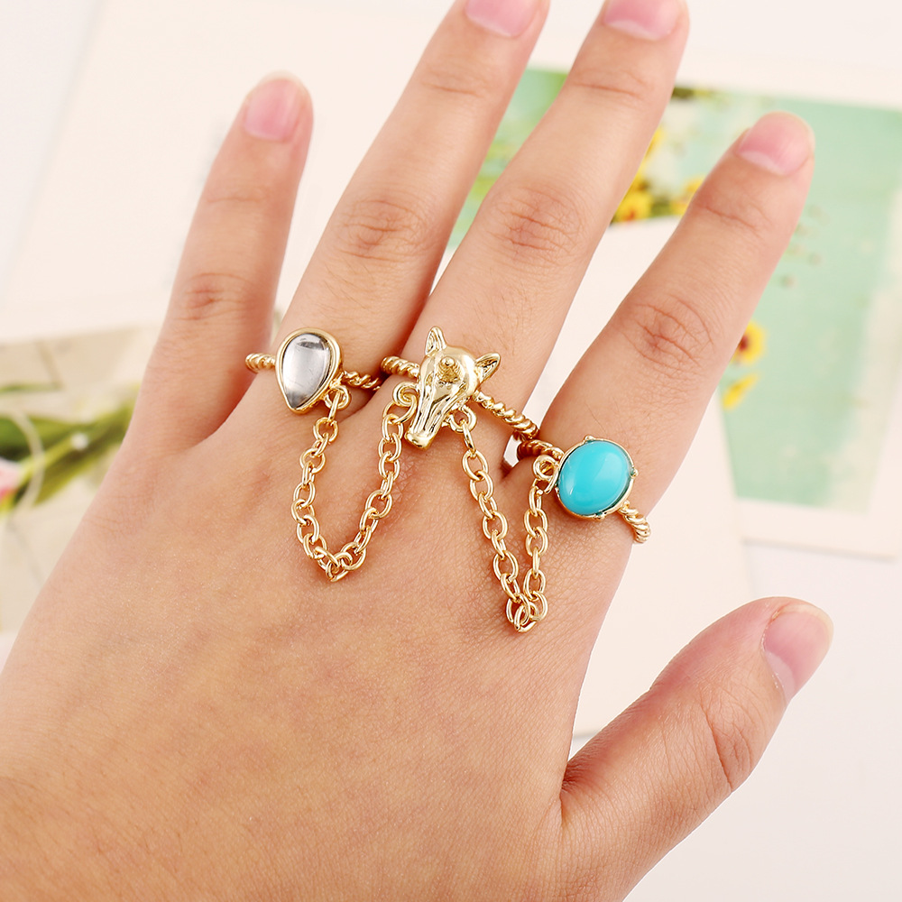 Fashion rings jewelry women fox head ring