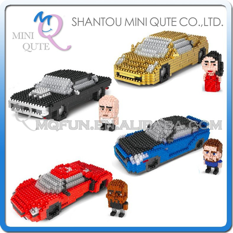 Mini Qute Lele Brother 4 styles 2 in 1 Fast & Furious Hobbs car movie model plastic building blocks brick educational toy