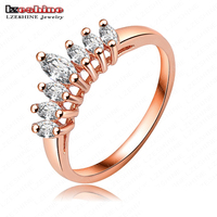 Hot Sale Rose Gold Plating Austrian Crystals Gorgeous Crown Shape Engagement Rings Nobal Jewelry RIC0003-A