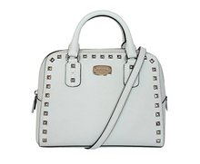 RICHMILAN -----2018 Famous brand white leather bags Women's Saffiano stud SMALL Satchel LEATHER HANDBAG
