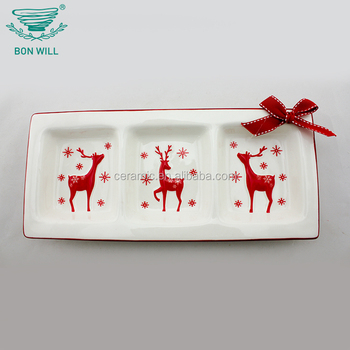 Restaurant hotel super white personal design wholesale rectangle divided plate 3 ceramic compartment plate