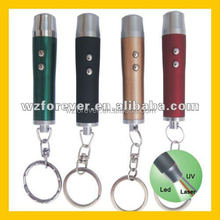 3 in 1 LED Light Red Laser Pointer UV Light Keychain