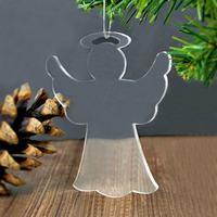 Transparent acrylic angel pendant, plexiglass christmas tree ornament, lucite angel gift