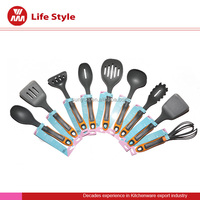 whole kitchenware set 9 pcs wonderful design nylon/silicone utensils spatula/Spaghetti spoon/colander