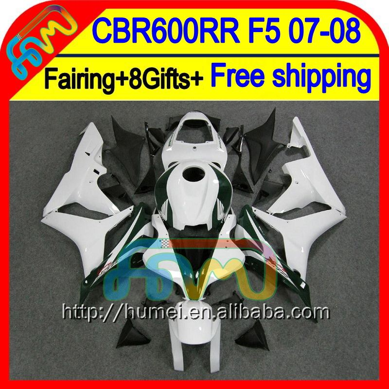 8Gifts For HONDA Black white CBR 600RR 600 RR 07 08 F5 48HM45 CBR600 RR 07-08 CBR600RR Gloss white 2007 2008 Injection Fairing