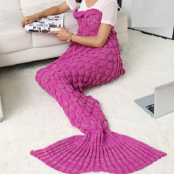 SZPLH Super Soft Mermaid Tail Blanket 100 Acrylic Knitted Scales