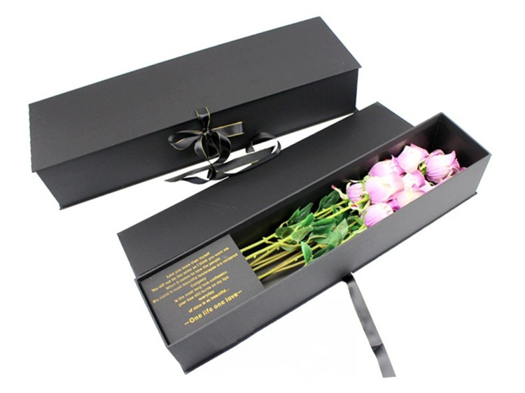 Luxury Matt Black Rose Flower Gift Box