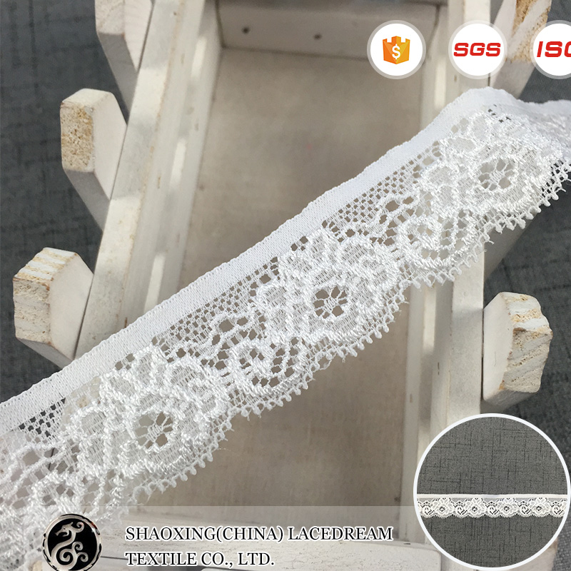 Wholesale indian White Stretch Bridal Scalloped Border Lace Trim fabric