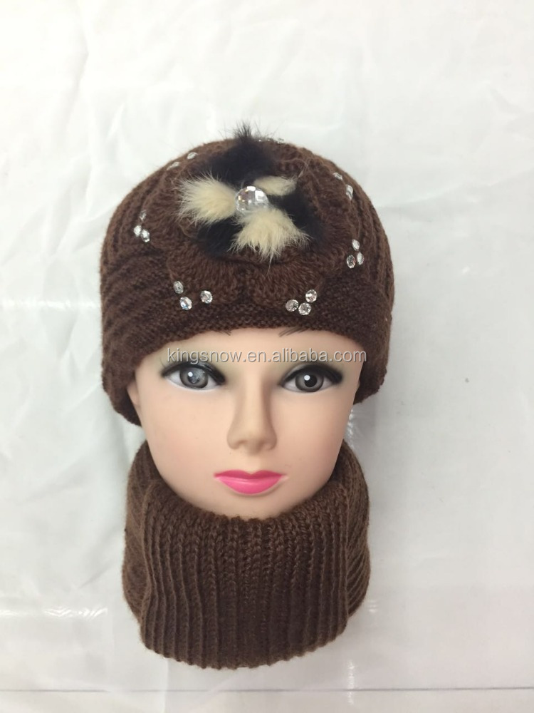 Woman Colors Crochet Flower Diamond Wool Pearl Cap,Hat Scarf Set,Gloves