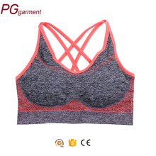 Fashion women plain yoga fitness none stitching sport bra hot sexy seamless removable pad bra for sport