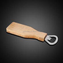 Bottle shaped bottle opener in wooden handle