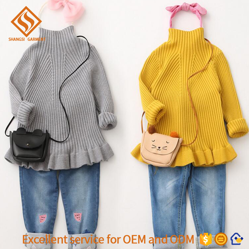 kids half turtleneck pure colour edgefold hem longsleeve rib pattern baby cotton kintting pullover sweater for girls design