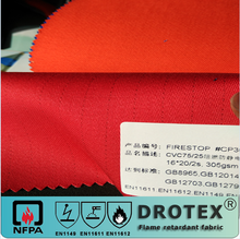 fire retardant & anti-static & water resistant funtion 75%cotton with 25% polyester fabric 305gsm
