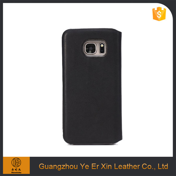 Wholesale custom OEM/ODM free sample smart flip cover leather phone case for samsung galaxy s6 s7 edge