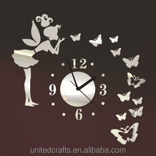 ColorfulHall - Angel Beauty Butterfly and Figure Wall Clock Removable DIY Acrylic 3D Mirror Wall Decal Wall Sticker Home Decorat