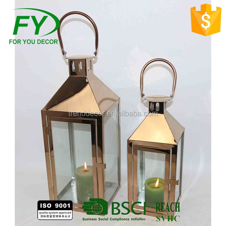 wholesale copper glass hand candle holder stainless steel lantern