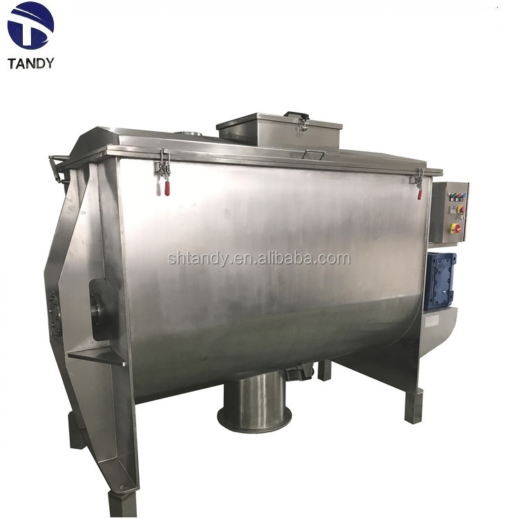 Stainless steel horizontal wheat grain power granule ribbon mixer