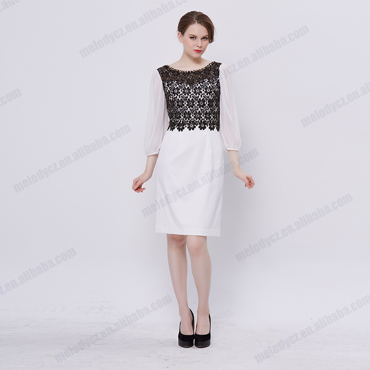 White black match flower lace sheath tulle long sleeve design daily dress