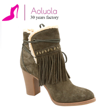 factory direct best quality fur ankle boots tassels custom women winter boots wholesale