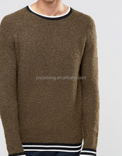 Sweater in Boucle Yarn with Stripe Hems Wool-mix knit