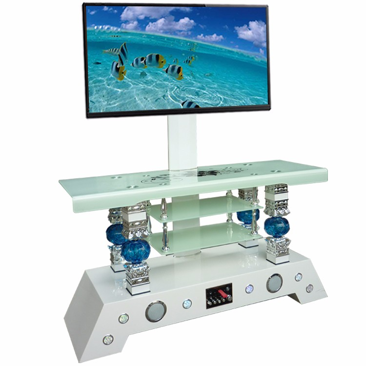 New model LCD LED plasma high TV stand with speakers in white