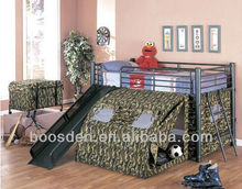 bedroom metal frame single kids bed with slide, modern metal bunk bed, cheap kids bed BSD-456015