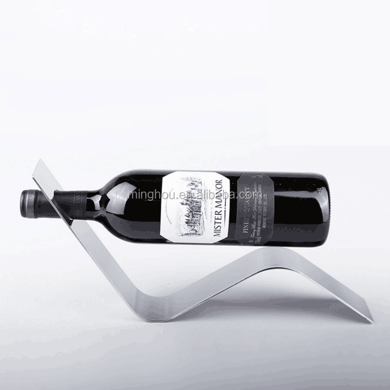 Stainless steel S style wine bottle rack, creative metal wine bottle holder for single bottle