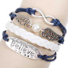 Silver Plated Handmade Braided Multilayer Believe Infinity Leather Bracelet Angel Wing Adjustable Leather Bracelet