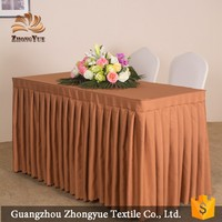 High quality cheap hotel tablecloth / polyester table cloth with skirt