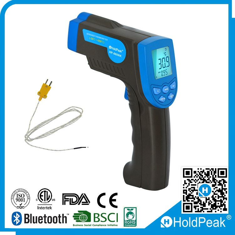 Non contact Digital Infrared Thermometer to 550C with K Type Thermocouple / Temperature Bridge Alarm