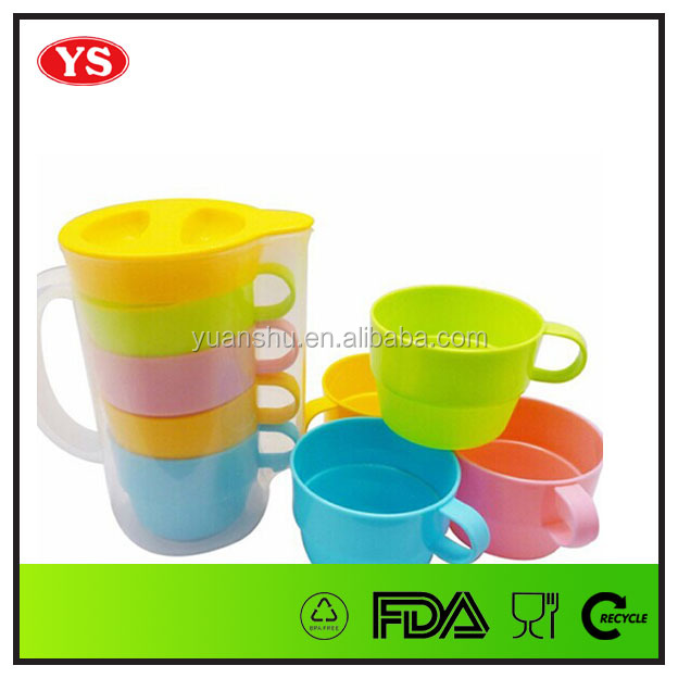 800 ML plastic pitcher set with 4 cups