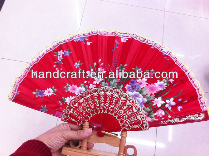 logo cheap red advertising folding fans