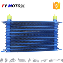 12 Blue Row AN-10AN Universal Engine Transmission +SS Braided Hose kit Oil Cooler
