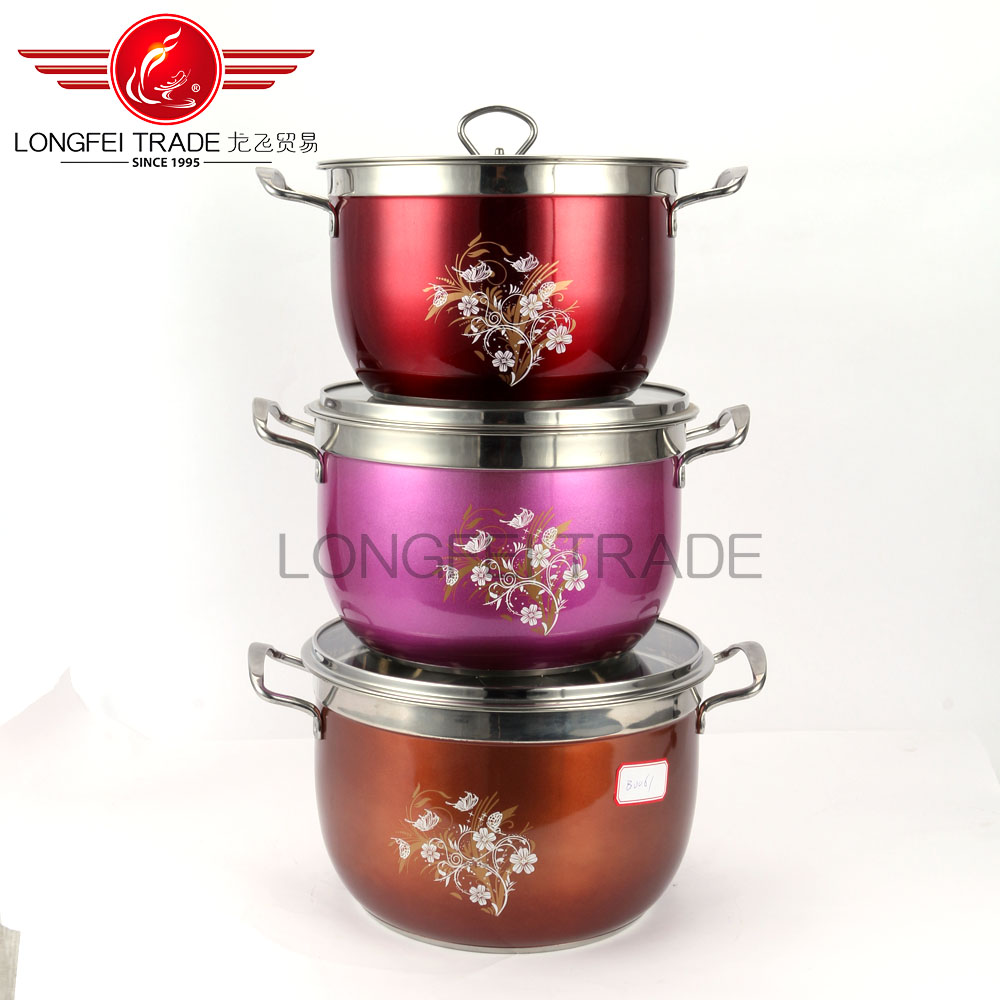 OEM stainless steel stock pot/soup pot/ high pot with decal Colorful Cookware Set Pot&Pan Masala