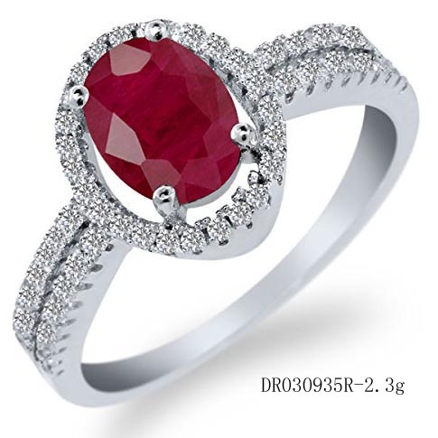 Red Natural Ruby Engagement Ring Oval Gemstone Rings Unique Sterling Silver Jewelry DR030935R