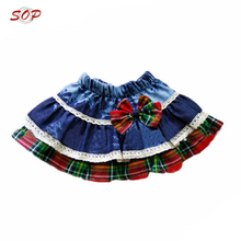 Young girl in short skirt cotton a line kids outwear boutique girls skirts