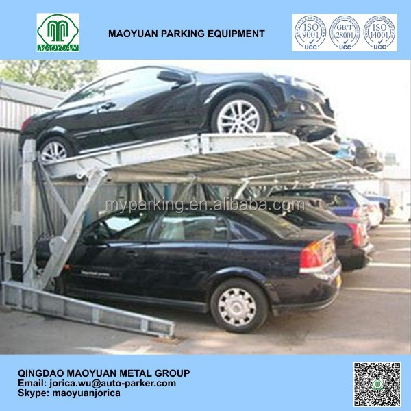 hydraulic lifting two post two level automated tilting parking vertical car storage